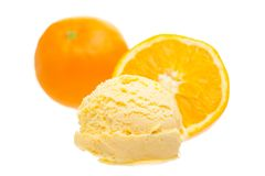 Orange ice cream scoop with oranges on white background stock image