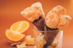 Orange ice cream sorbet Stock Images