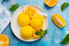 Orange ice cream. Summer orange sorbet. Homemade orange ice cream with thyme and orange slices Royalty Free Stock Images