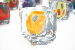 Orange in ice cube isolated on white with depth of field effects. Ice cubes with fresh berries. Berries fruits frozen in. Ice cubes. 3D rendering Royalty Free Stock Photo