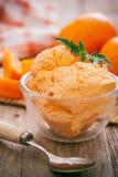 Orange icecream. Homemade creamy orange sorbet icecream royalty free stock image