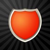 Orange icon. With metal border over ray background stock illustration
