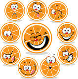 Orange  icon cartoon with funny faces isolated Royalty Free Stock Image
