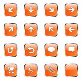 Orange icon collection 2. Web icon collection 2 (16 orange buttons:up, down, left, right, diagonal, back up, back, arrows, clouds, shopping card, wheelchair stock illustration