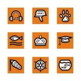 Orange icon series. A set of nine simple orange icons Stock Images