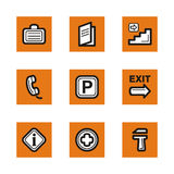 Orange icon series. A set of nine simple orange icons related to hotel and restaurant services Stock Image