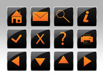 An orange icon set. With various navigational buttons Royalty Free Stock Image