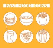 Orange icon set fast food Royalty Free Stock Images