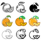 Orange icons set. Fresh orange icons vector set royalty free illustration
