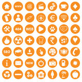 Orange icons set. Orange big icons set on a white background. Vector illustration Royalty Free Stock Photo