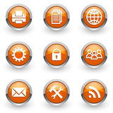 Orange icons set Royalty Free Stock Images