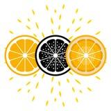 Orange Ikonen In drei Versionen Lizenzfreie Stockfotografie