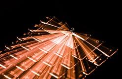 Orange Illuminated Keyboard, Light Trails Around Enter Key, Black Background Royalty Free Stock Images