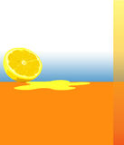 Orange illustration. Illustration layout in orange tone with lemon, copy space Royalty Free Stock Photos