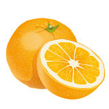 Orange. An illustration of a cut orange on a neutral background Royalty Free Stock Photo