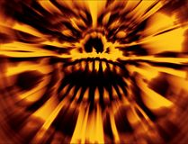 Orange ilsken brinnande övre skalle Apokalyptisk räkning arkivfoto