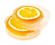 Orange im Eis Lizenzfreie Stockfotos