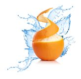 Orange In Splash Of Water Isolated Royalty Free Stock Image