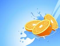 Orange In The Water Splash Royalty Free Stock Images