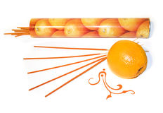 Orange incense. Sticks with packaging and fruit Royalty Free Stock Images