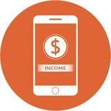 Orange income and dollars sign design in a flat round button Stock Image