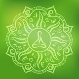 Orange indian ornament. Mandala, round ornament pattern with meditating figure inside on green background, vector illustration Royalty Free Stock Photo