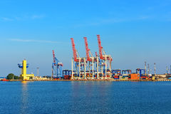 Orange industrial cranes Stock Photography