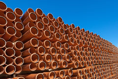 Orange Industrial pipes pvc stock Royalty Free Stock Image