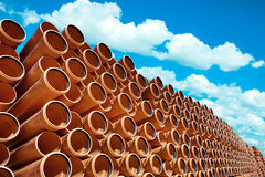 Orange Industrial pipes pvc stock Royalty Free Stock Photo