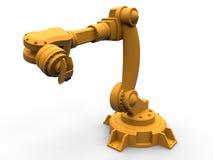 Orange industrial robotic arm isolated Stock Image
