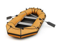 Orange inflatable rubber boat Royalty Free Stock Image