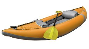 Inflatable whitewater kayak with paddle. Orange inflatable whitewater one person kayak with a paddle isolated on white with a clipping path royalty free stock photos
