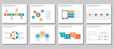 Orange infographic presentation som kan användas till mycket för röda gräsplanblått och uppsättning 2 för beståndsdellägenhetdesi Arkivbilder