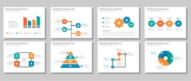 Orange infographic presentation som kan användas till mycket för röda gräsplanblått och uppsättning 2 för beståndsdellägenhetdesi Royaltyfria Foton