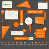 Orange infographic Zeitachseelemente auf dunklem Hintergrund Lizenzfreie Stockfotos