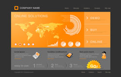 Orange Infographics Web site Stockfotos