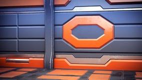 Orange intérieure de couloirs de vaisseau spatial de la science fiction de pièce de fiction de fond de la Science, rendu 3D illustration de vecteur
