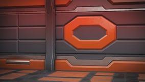 Orange intérieure de couloirs de vaisseau spatial de la science fiction de pièce de fiction de fond de la Science, rendu 3D illustration stock