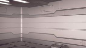 Orange intérieure de couloirs de vaisseau spatial de la science fiction de pièce de fiction de fond de la Science, rendu 3D illustration libre de droits