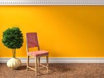 Orange interior with armchair. 3d illustration Royalty Free Stock Photos