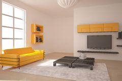 Orange interior design Stock Photos
