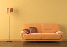 Orange interior design scene Stock Image
