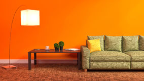 Orange interior with green sofa, wooden table and lamp. 3d illus Stock Photo