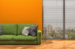 Orange interior with sofa. 3d illustration Stock Images