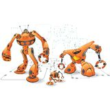 Orange internet robots. Part of a series of robots created as fun concepts having to do with Internet functions, sucha s Search Engines, RSS, Firewalls and Royalty Free Stock Photography