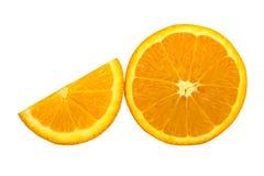 Orange isolated on white background. Half and slice of orange isolated on white background Royalty Free Stock Images