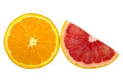 Orange isolated on white background. Half and slice of orange isolated on white background Stock Photography