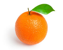 Orange isolated on white background. Ripe orange with a leaf isolated on white background Stock Photo
