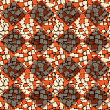 Orange and ivory vector seamless chess styled vintage tiles wall texture Stock Photos