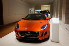 Orange Jaguar F typ Royaltyfri Foto